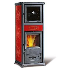 Nordica Rossella Plus Forno Evo Hölzerkofen hot air natural convection 9 kw - bordeaux liberty majolika-beschichtung