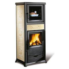 Nordica Rossella Plus Forno Evo Holzherd hot natural convection 9 kw - antike liberty parchment majolika-beschichtung