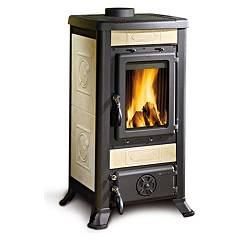 Nordica Fulvia Wood stove hot air natural convection 6 kw - antique liberty parchment majolica coating