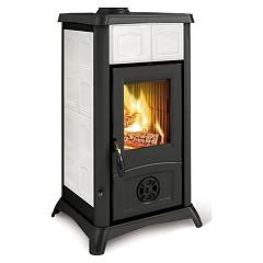 sale Nordica Gemma Wood-burning Stove, Hot Air Natural Convection And 6 Kw - Elegance White Infinity Tiled Coating