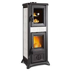 sale Nordica Gemma Forno Wood-burning Stove, Hot Air Natural Convection 7 Kw - Elegance White Infinity Tiled Coating