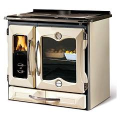 Nordica Suprema Wooden cooking hot air natural convection 9 kw - matt and black cream cast iron covering