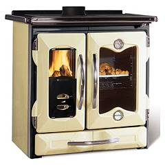 Nordica Mamy Wooden cooking hot air natural convection 9 kw - matt and black cream cast iron covering