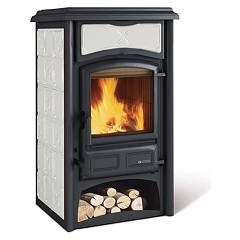 sale Nordica Gisella Wood-burning Stove, Hot Air Natural Convection 8 Kw - White Infinity Tiled Coating
