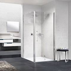 Novellini Young 2.0 1bs Corner box cm. 80 x 80 extensibility cm. 78 - 82 x 77 - 79 1 bellow door h 200 + fixed side