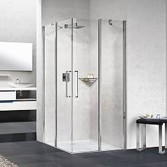 Novellini Young 2.0 A Corner box cm. 80 x 80 extensibility cm. 77 - 79 x 77 - 79 2 hinged doors h 200 + 2 fixed sides