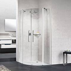 Novellini Young 2.0 R2 Semicircular corner box cm. 100 x 100 extensibility 97.5 - 99.5 x 97.5 - 99.5 2 hinged doors h 200 + 2 fixed sides
