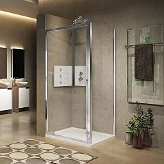 Novellini Lunes 2.0 G+fz Corner box cm. 100 x 80 extensibility cm. 96 - 102 x 78 - 81 1 swing door h 195 opening in / out + fixed side