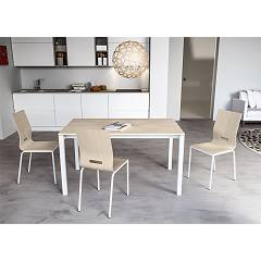 Outlet 08jol140 Point house: extending table l. 140 x 80 aluminum gray structure - white melamine top Jolly Plus 140