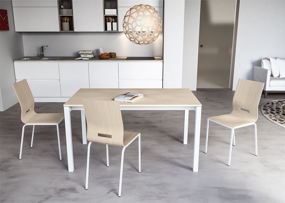 Photos 1: Outlet 08JOL140 Jolly Plus 140 Point house: extending table l. 140 x 80 aluminum gray structure - white melamine top
