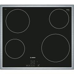 Outlet Pke645b17e Electric hob cm. 58 black glass ceramic with stainless steel frame - defective item with bent corner Bosch Serie 4