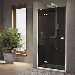 Outlet Brera G Extensibility niche box cm. 129 - 131 1 swing door h 200 + 1 fixed in transparent glass line chromed profiles Novellini