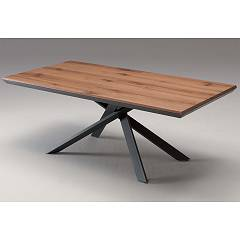 Ozzio 4x4 Extendable table - metal frame with wooden top | cement