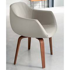 Ozzio S452 ELIOT Swivel armchair upholstered in leather wood legs