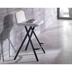 Ozzio S523 Charlie Fixed stool in metal and leather