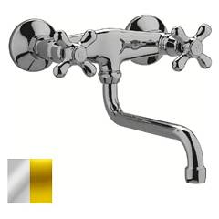 sale Paffoni Irv161co - Iris Kitchen Faucet Wall Mounted - Chrome Gold