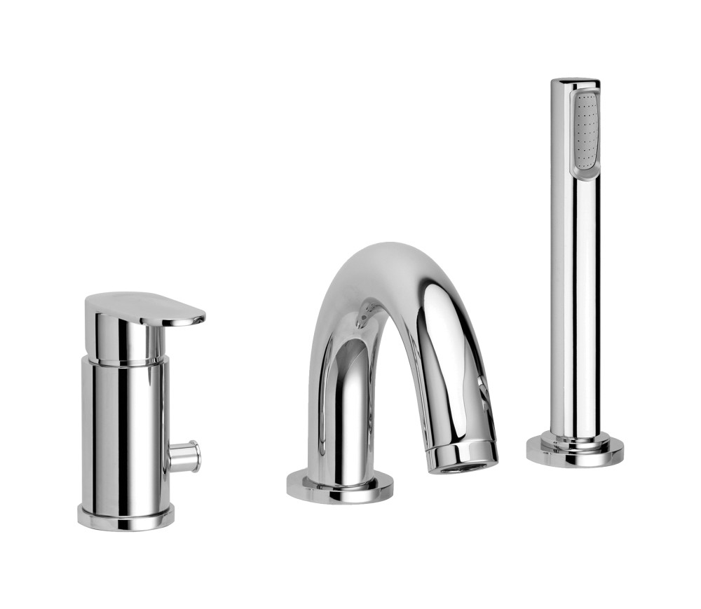 Paffoni CA040CR rim mounted bath mixer with duplex spout and diverter - chromed