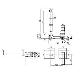 Paffoni EF104CR70 built-in basin mixer with open lever - technical drawing