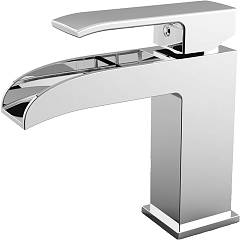 Paffoni Les061kcr Washbasin mixer with waterfall spout - chrome clic-clac waste Level