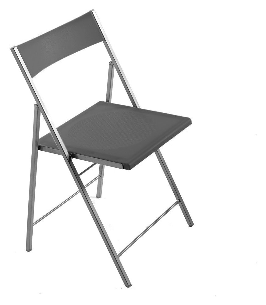 Photos 1: Outlet Foldable chair in steel and graphite plastic FIRST