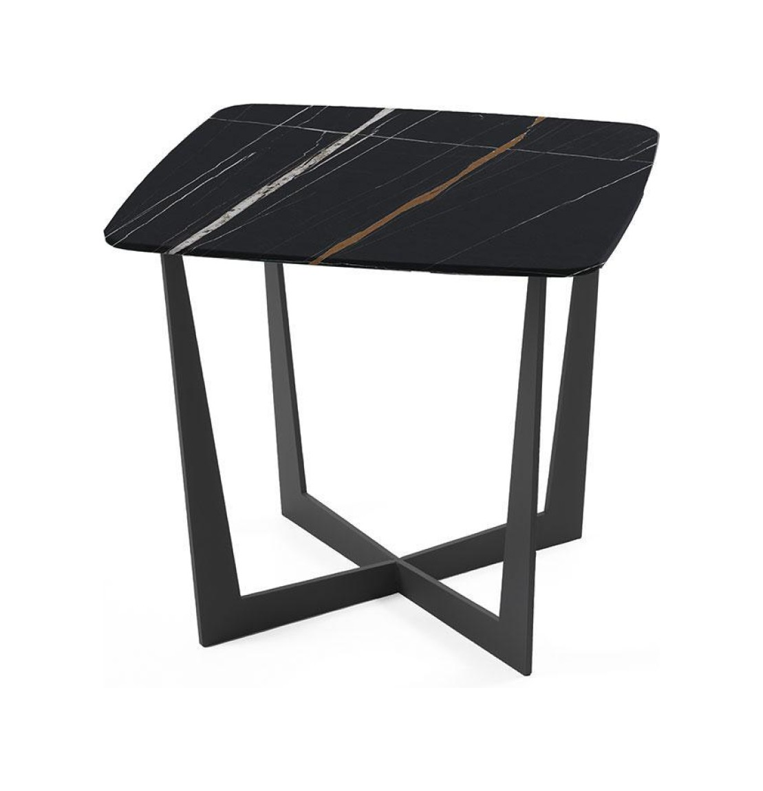 Pezzani Stone Fixed Square Coffee Table Painted Steel Structure