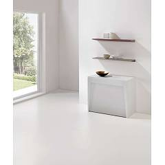 Pezzani Marvel Plus Console table with container: steel sheet structure with laminate top and extensions - stainless steel legs and extendable aluminum guide