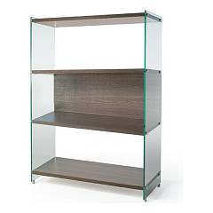 Pezzani Byblos 126 Column bookcase in wood and glass