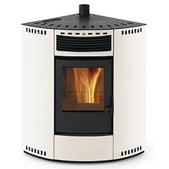 Phebo Stufe Asia Bianca Pellet stove with hot air ducted upper smoke outlet 13 kw - white metal coating