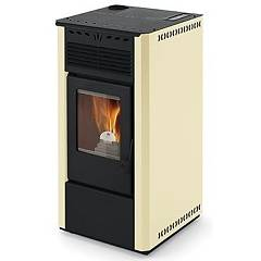 Phebo Stufe Aurora Avorio Airtight pellet stove with superior smoke output 9 kw - ivory metal coating
