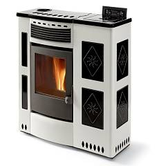 Phebo Stufe Iris Bianco Nera Pellet stove with hot air ducted upper smoke outlet 12 kw - white / black metal coating with majolica inserts