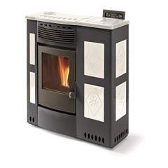 Phebo Stufe Iris Nero Bianca Pellet stove with hot air ducted upper smoke outlet 12 kw - black / white metal coating with majolica inserts