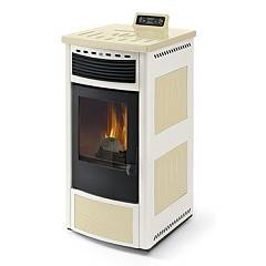 Phebo Stufe Maia Avorio Bianca Pellet stove with hot air ducted rear smoke outlet 13 kw - ivory / white metal coating with majolica inserts