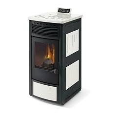 Phebo Stufe Maia Bianco Nera Pellet stove with hot air ducted rear smoke outlet 13 kw - white / black metal coating with majolica inserts