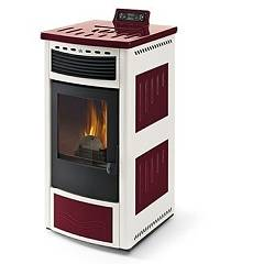 Phebo Stufe Maia Rosso Bianca Pellet stove with hot air ducted rear smoke outlet 13 kw - red / white metal coating with majolica inserts