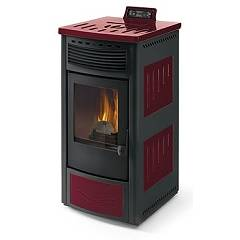 Phebo Stufe Maia Rosso Nera Pellet stove with hot air ducted rear smoke outlet 13 kw - red / black metal coating with majolica inserts