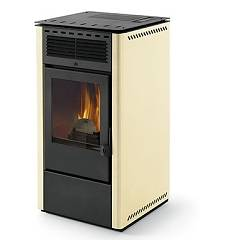 Phebo Stufe Nike' Avorio Pellet stove with hot air ducted rear smoke outlet 13 kw - ivory metal coating