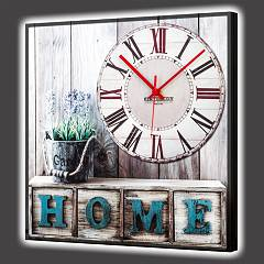 Pintdecor Home Sweet Home Horloge lumineuse cm. 40 x 40/100 x 100