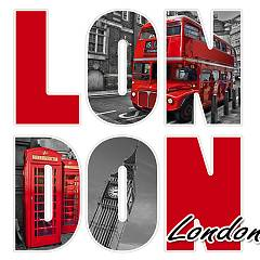 Pintdecor London In Lettere Bild cm. 40 x 40