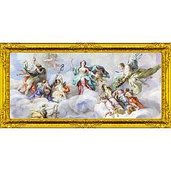 Pintdecor Angeli In Paradiso Con Cornice Picture cm. 140 x 70