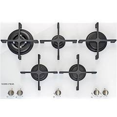 Plados Telma Kristal75 K2 Semifilo hob cm. 75 - 4 gas burners + 1 triple crown - white crystal
