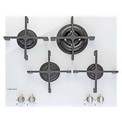 Plados Telma Kristal60 K2 Semifilo hob cm. 60 - 3 gas burners + 1 triple crown - white crystal