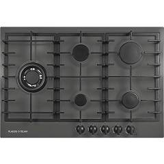 Plados Telma Slim75 Ug 70 Hob cm. 75 x 51 - 4 gas burners + 1 triple valve crown - matt black