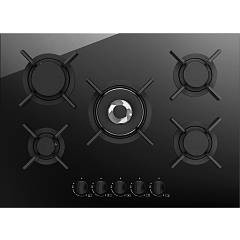 Plados Telma Glass75 Hob cm. 75 x 51 - 4 fires + 1 triple crown - black crystal