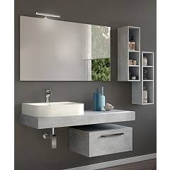 Rcr Basic.101 Bathroom composition l 120 complete with sink with spotlight mirror drawer and two wall units