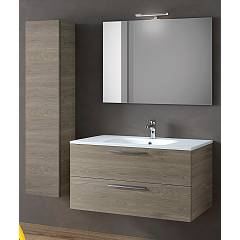 Rcr Basic.102 Bathroom composition l 101 complete with sink with drawers, spotlight and column mirror