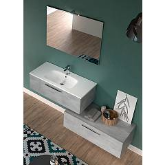 Rcr Basic.103 Bathroom composition l 101 + l 100 complete with sink with drawers and spotlight mirror