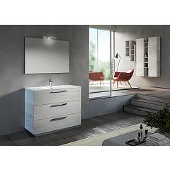 Rcr Basic.104 Bathroom composition l 101 complete with sink with drawers, two-column spotlight mirror and wall units