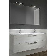 Rcr Basic.105 Bathroom composition l 121 complete with 2-bowl sink with mirror drawers and spotlights
