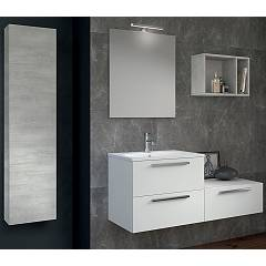 Rcr Basic.106 Bathroom composition l 121 complete with sink with drawers, mirror, column spotlight and wall unit
