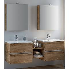 Rcr Basic.107 Bathroom composition l 157 complete with 2 washbasins with spotlight mirror drawers and an open base